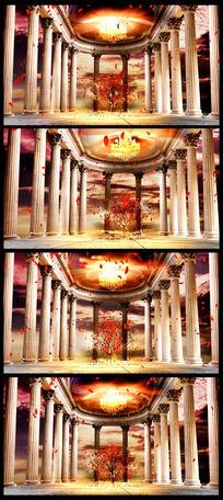 花瓣罗马柱舞台背景视频素材