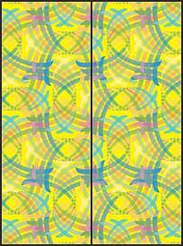 黄色幻彩时尚花纹移门图案