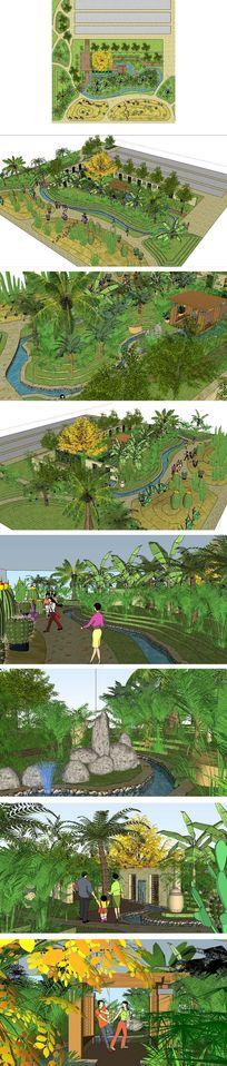 农业生态园景观草图大师SU模型