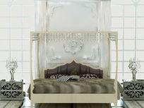 欧式高档床具展厅布置3D效果素材资料