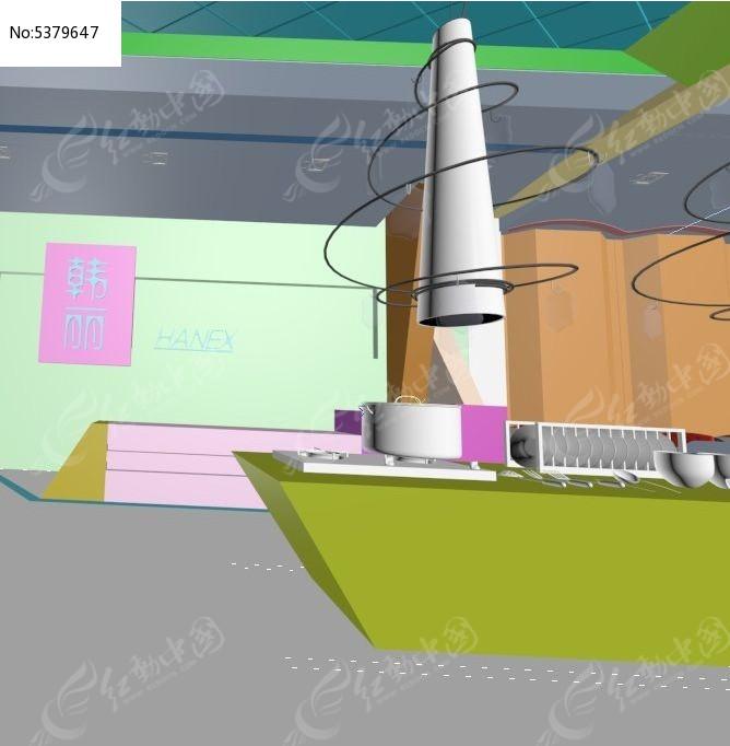色彩艳丽的产品展厅3D素材资料图片