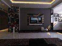 时尚大方客厅背景墙装修3D效果素材