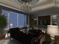时尚简约欧式客厅3D效果素材资料