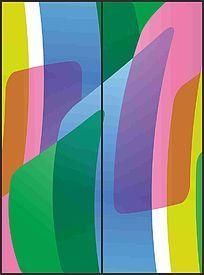 时尚五彩色块花纹移门图案 CDR