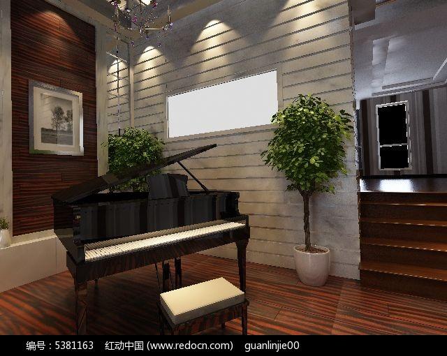 时尚现代别墅钢琴室3D效果素材资料