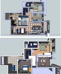 双层地中海完整室内草图模型SU skp