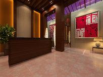 中式会所大厅装修3D模型素材资料