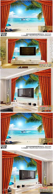 逼真3D立体窗帘海边电视背景墙高清图下载
