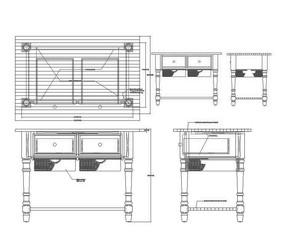 车积脚实木橱柜CAD素材