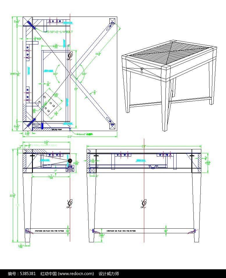 方形几三视图CAD素材图片