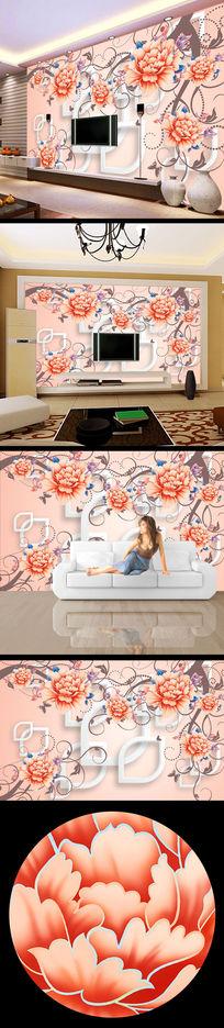 高清清雅花朵花纹3d立体壁画