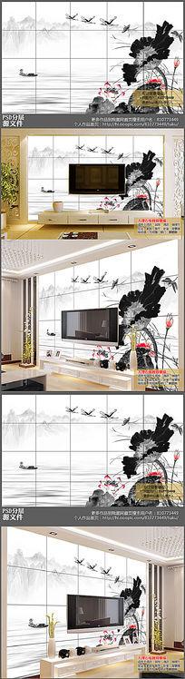 高清水墨中国风荷花电视背景墙下载