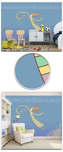 简约线条卡通海底世界儿童房背景墙