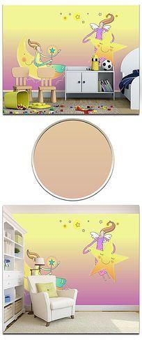 简约线条卡通月亮星星儿童房背景墙