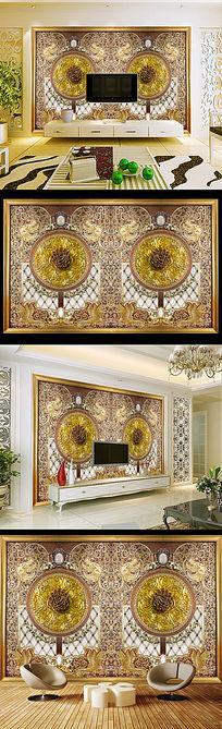 经典欧式浮雕玫瑰花纹电视沙发背景墙