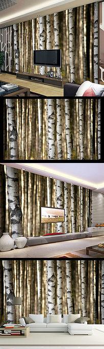 梦幻树林森林大树电视背景墙