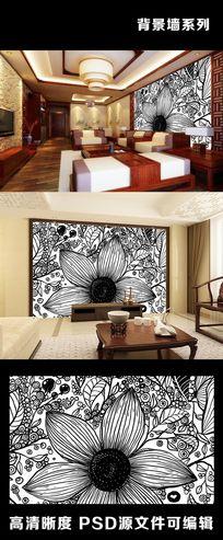 手绘线条简约花朵树叶背景墙