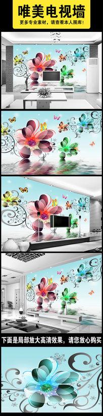水中花朵电视背景墙