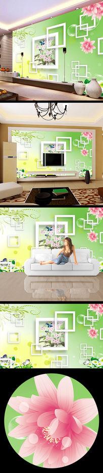 桃花花纹3d立体背景墙