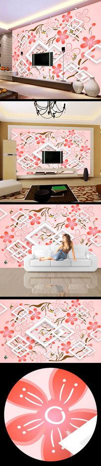 桃花花纹3d立体电视墙