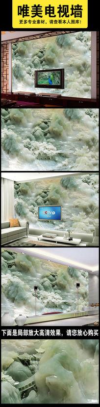 玉雕山水电视背景墙壁画