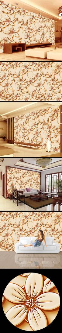 中式浮雕花纹背景墙设计