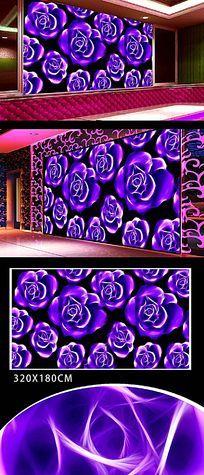 紫色玫瑰花背景墙画