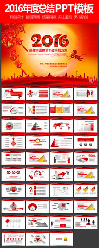 红色喜庆2016猴年年会活动策划方案动态PPT模板