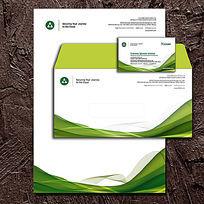 绿色曲线精美信纸名片设计