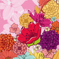 时尚花卉矢量插画