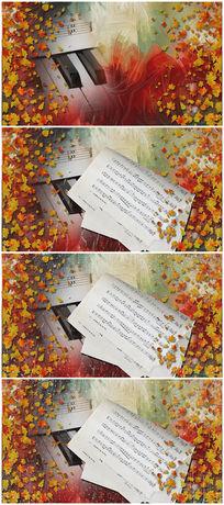 唯美曲谱树叶掉落秋季主题背景视频素材 mp4