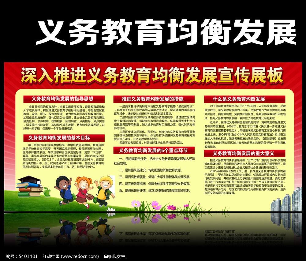 义务教育均衡发展宣传展板PSD素材下载 政府 党建展板设计图片