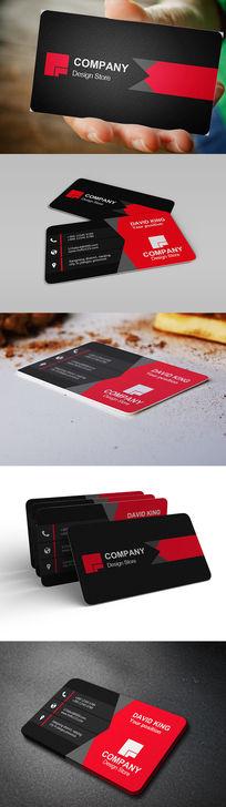 圆角红黑色颗粒背景个人名片设计 PSD