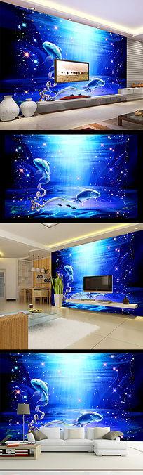 蓝色梦幻星光海底世界电视背景墙