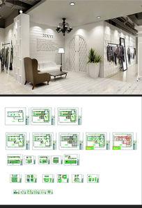 日韩风格服装店CAD素材