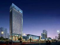夜景高层建筑商业街建筑室外建筑表现 PSD