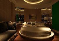圆形床主题酒店客房装修3D模型效果素材资料