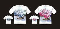 中国风水墨画菊花衬衣模版设计