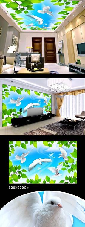 丛林白鸽天花吊顶壁画