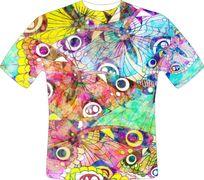 蝴蝶花水彩画衬衣模版设计