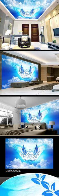 蓝色白云装饰吊顶壁画