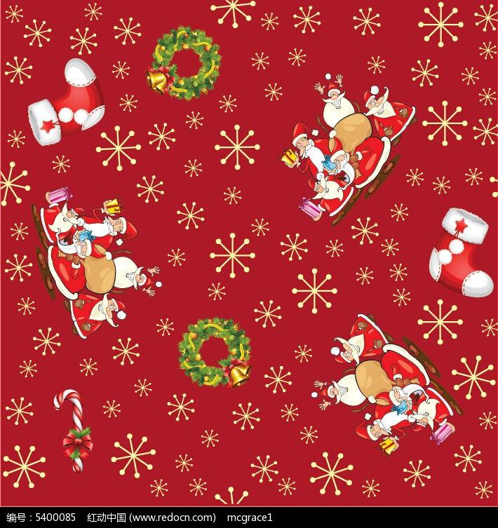 圣诞老人圣诞钟矢量设计