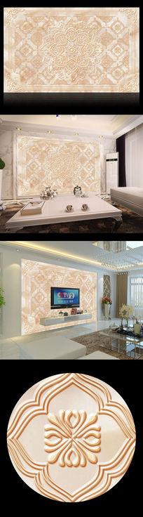 卧室大厅中式花纹浮雕壁画