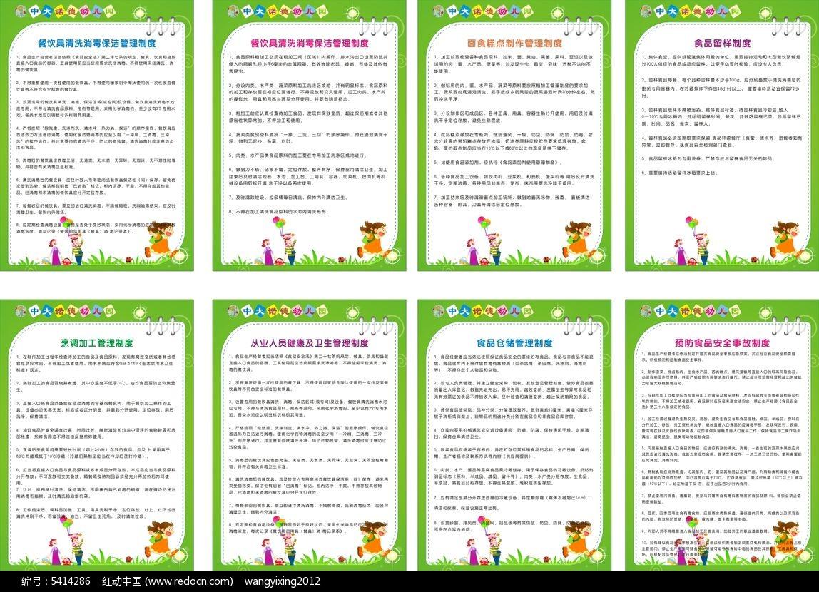 幼儿园厨房制度展板模板设计