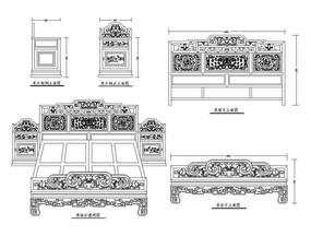 古典大床CAD素材 dwg