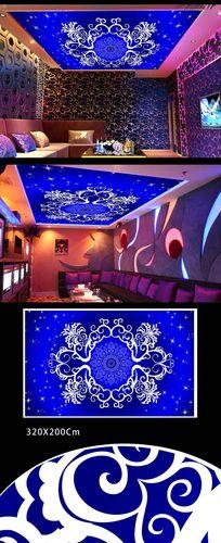 蓝色花纹天花吊顶壁画