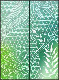 绿色几何线条花纹移门图案