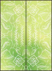 绿色植物装饰花纹移门图案