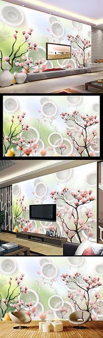 3D立体梦幻桃花圆圈电视背景墙