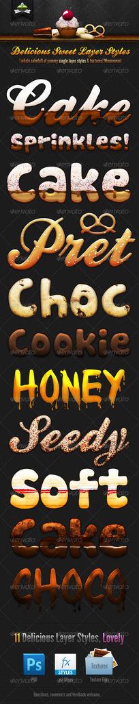 饼干字体巧克力字体3d字体可修改 PSD